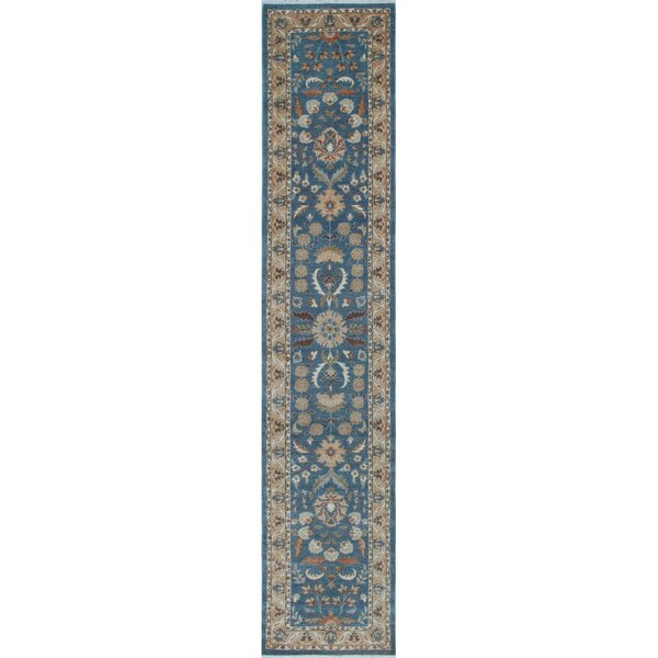Longoria Chobi Knotted 100% Wool Blue Area Rug by Canora Grey